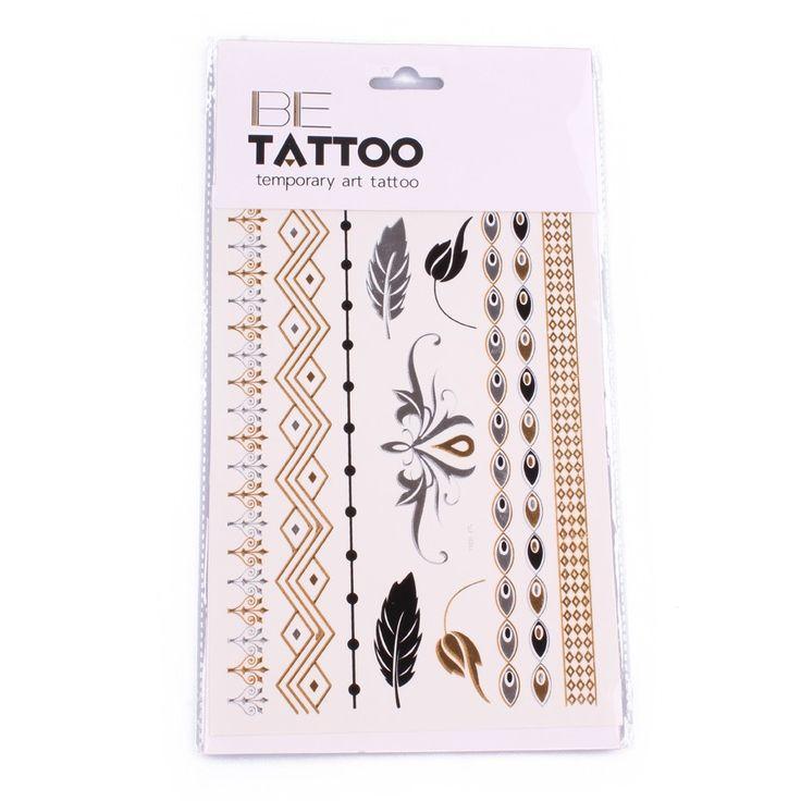 tatouages phmres bracelets baroques plumes et tribal argent dor noir - Coloration Phmre