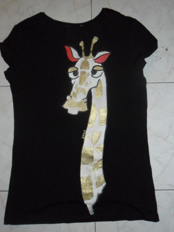 sleepy giraffe on black