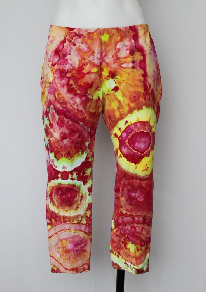 Tie dye Capri Leggings - size Large - Raspberry Lemonade bulls eye by A Spoonful of Colors Find this item on https://aspoonfulofcolors.com
