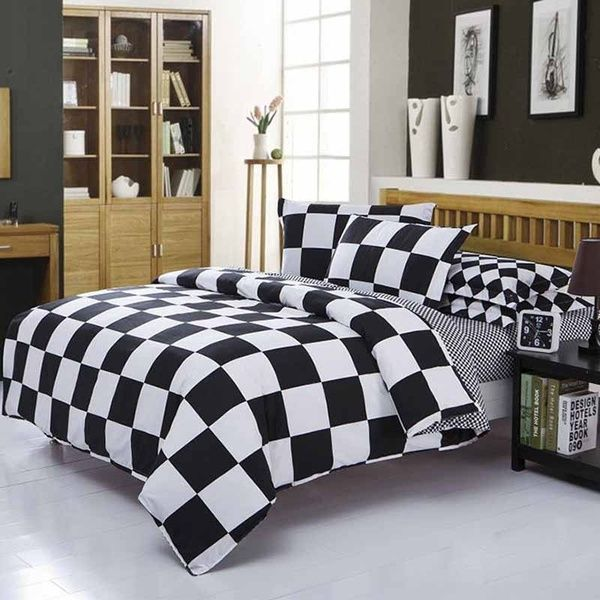 Fahion Black And White Checkered Pattern Bedding Sets 3 4 Pcs Bedding Set 1 Quilt Cover 1 Sheet 2 Pillowcase Bettwasche Gesetzt Baddset Juego De Cama Ensemble In 2020 White Bed Sheets Blue Bedding Sets White Duvet Covers