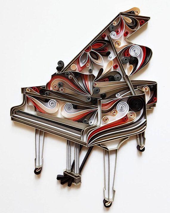 Piano Paper Art, Piano Wall Art, Piano Home Decor, Gift for musician, Music Art…
