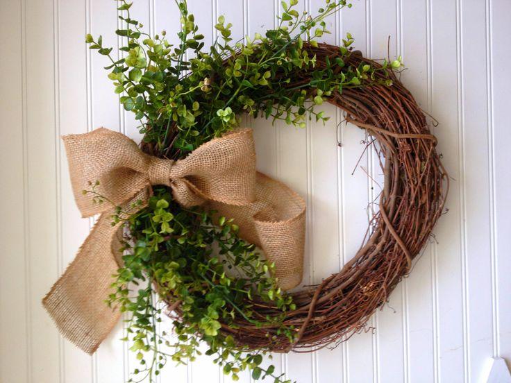Boxwood wreath with large burlap bow. by YourHandmadeWreath
