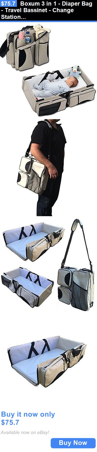 baby and kid stuff: Boxum 3 In 1 - Diaper Bag - Travel Bassinet - Change Station - (Cream) - ... New BUY IT NOW ONLY: $75.7