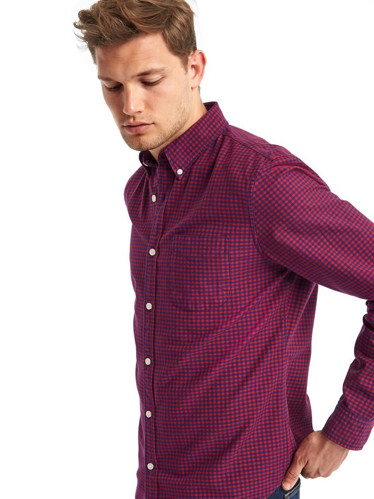 Gap Gingham Shirt (Red, Slim fit, Large)