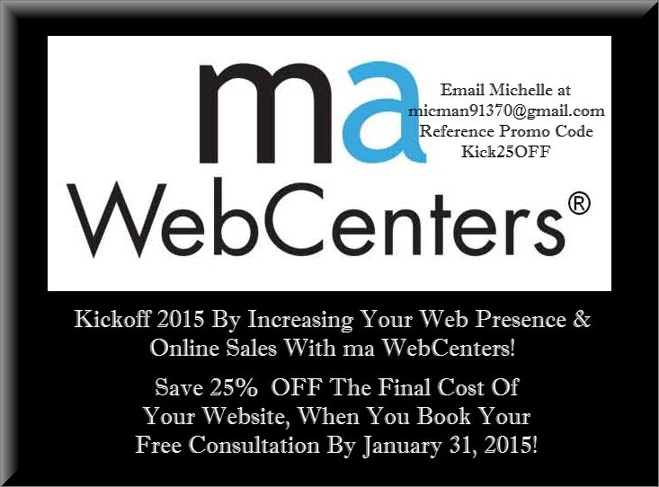 #kickoff2015 #mawebcentersale #take25percentOFF Increase your web presence and online sales, make the appointment!