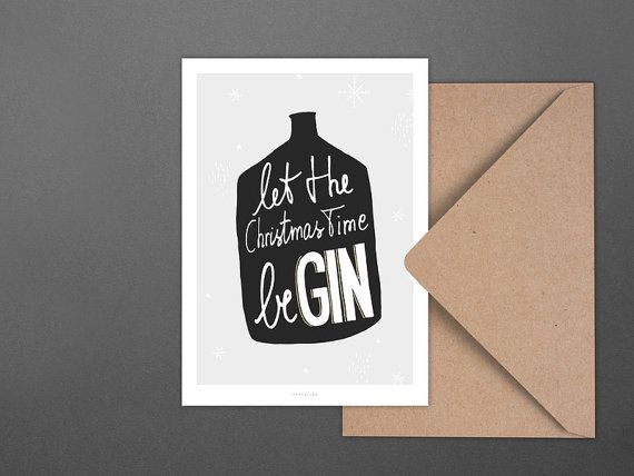 Weihnachtskarte beGin / Postcard, Greeting Card, Present, Christmas, Typography, Artprint