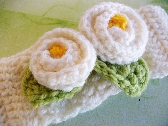 White Crochet Headband with rose bud and leaves