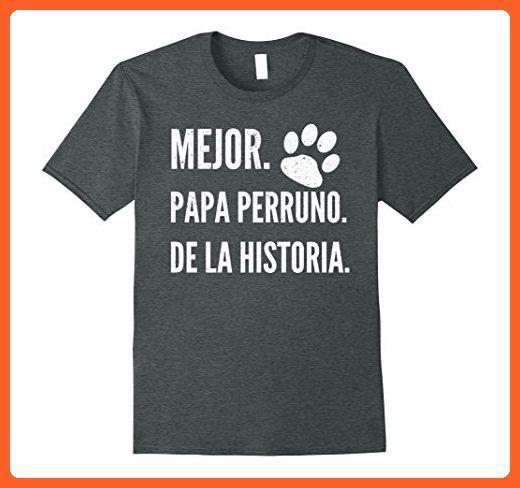 Mens Mejor Papa Perruno de la Historia T-shirt - Dia del Padre Medium Dark Heather - Relatives and family shirts (*Partner-Link)