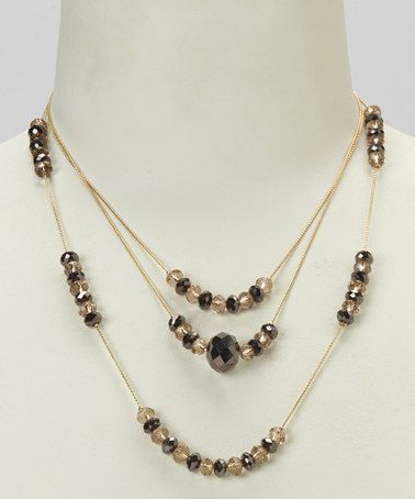 Take a look at this Bronze & Platinum Three-Row Gold Chain Necklace by Majestic on #zulily today!