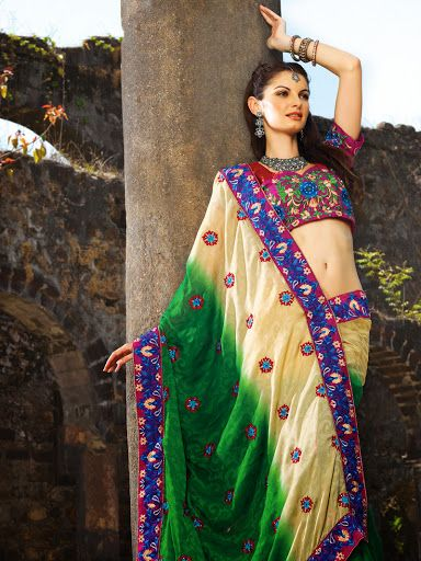 Fancy Bige Brown & Bottle Green Embroidered Saree | StylishKart.com