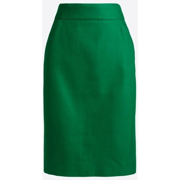 J.Crew Pencil skirt in double-serge cotton ($35) ❤ liked on Polyvore featuring skirts, knee length pencil skirt, j crew skirts, green skirt, cotton knee length skirt and long skirts