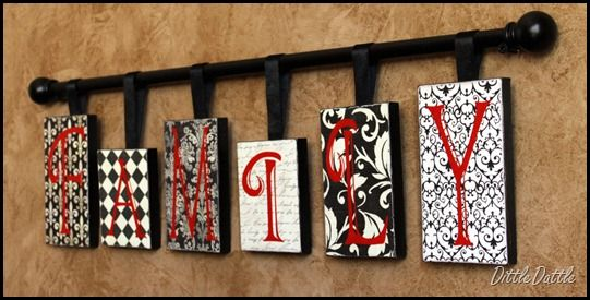 SHOEBOX LIDS, scrapbook paper, modge podge, letters, ribbon, and a curtain rod... i wanna make one of these!