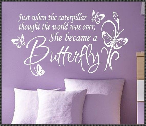 Vinyl Wall Quote Decals Lettering Flowers She became a Butterfly on Etsy, $13.00