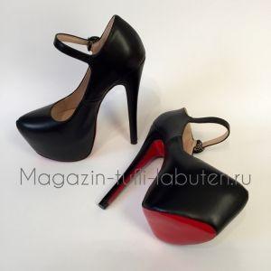 Черные кожаные туфли с ремешком