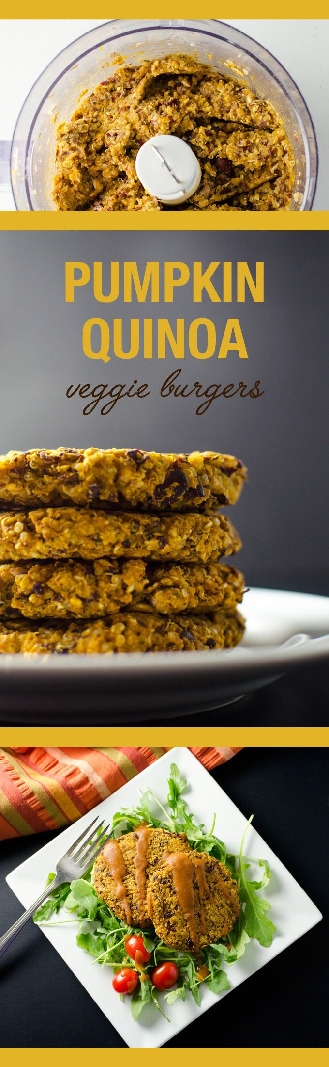 Pumpkin Quinoa Veggie Burgers - thyme and sage provide a nice accent to pumpkin and BBQ flavors in this quick and easy vegan gluten-free recipe | VeggiePrimer.com