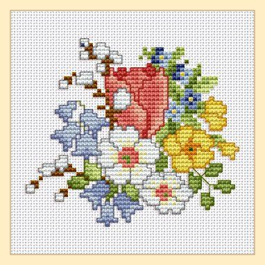 "Freebie ""Spring Flowers"" cross stitch"