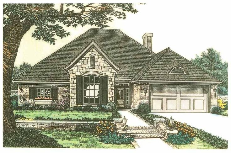 Eplans french country house plan tandem garage 2045 for Tandem garage house plans