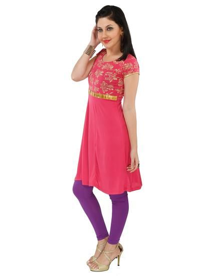 LadyIndia.com #Kurtis, Attractive Floral Pink Kurti For Women, Kurtis, Kurtas, Cotton Kurti, https://ladyindia.com/collections/ethnic-wear/products/attractive-floral-pink-kurti-for-women