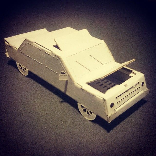 A cardboard toy car i did for my daughter. It's made of one piece of paper without glueing it. You can open some elements...  ...by Soyski #paper #car #custom #craft #without #using #glue #toy #handmade #Soyski #art