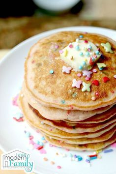 LOL Pancakes with Sprinkles! Yummy for everyone young and old!