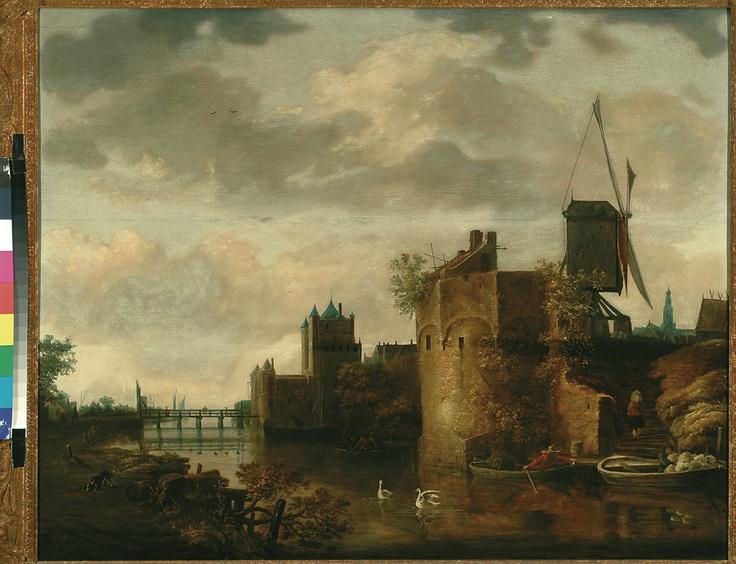 Johannes Oudenrogge, De oostelijke stadswal van Haarlem met de Spaarnwouder of Amsterdamse Poort, 1651 - 1653. (eigen collectie) #haarlem #art #painting