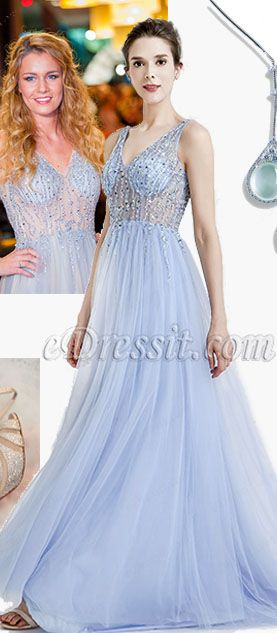 bf81f1919a3 eDressit Blue Sparkly V Cut Beaded Women Evening Dresses. An eveningwear  from our new collection