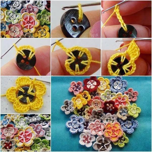 met Knopen, een haaknaald en haakgaren of wol maak je grappige bloemen.