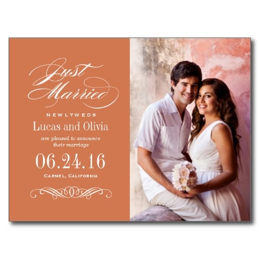Just Married Wedding Marriage Announcements | Copper Orange Postcard Format