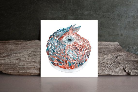 Squirrel Watercolor Art painting red / blue / by NORAillustration