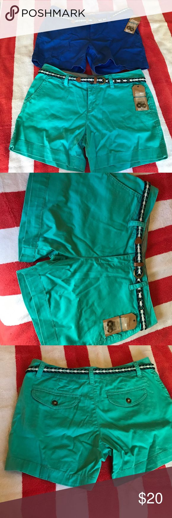 Adorable shorts bundle! NWT! Two pair of Red Camel shorts, 95% cotton, 2% spandex,  one teal and the other cobalt blue, rear pockets, each comes with its own belt. Red Camel Shorts