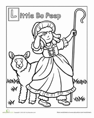 Preschool People Fairy Tales Worksheets: Little Bo Peep Coloring Page