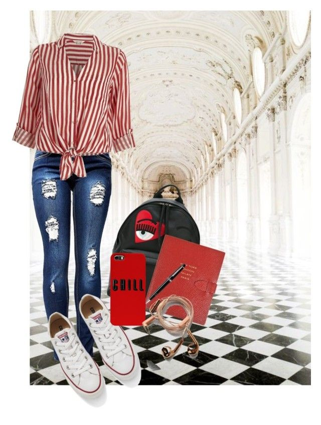 """""""Back to College"""" by devarahma on Polyvore featuring Oxford, Chiara Ferragni, Converse, Smythson, Montblanc, River Island and Happy Plugs"""