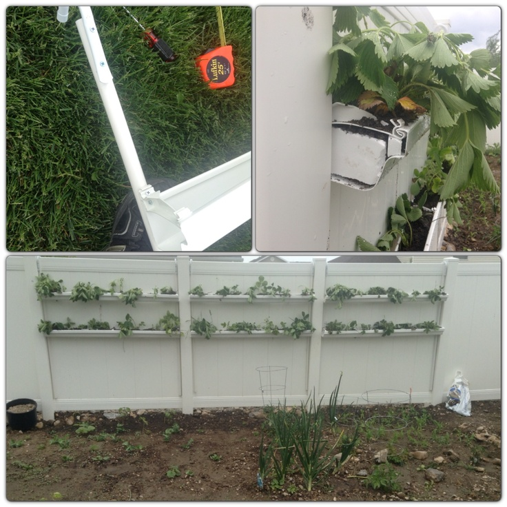 Diy planter vinyl shelves made from vinyl rain gutters for Rain gutter planter box