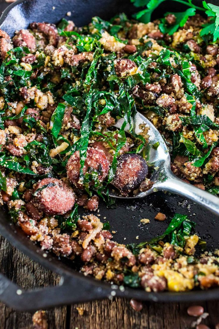 Feijão Tropeiro (Brazilian Beans with Sausage and Collard Greens) | www.oliviascuisine.com | If you like Brazilian food, this one is…