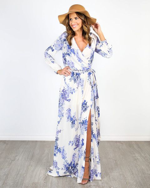 Blue Betsy Long Sleeve Maxi Dress