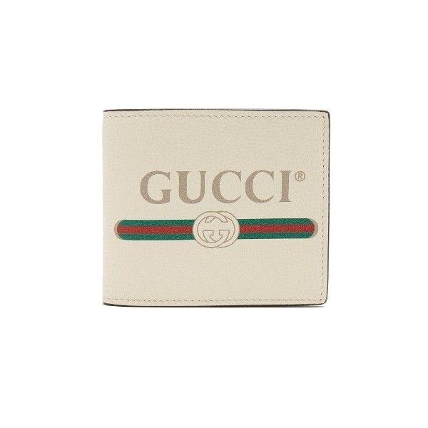 Gucci Logo-print bi-fold leather wallet ($490) ❤ liked on Polyvore featuring men's fashion, men's bags, men's wallets, white multi, mens bifold wallet, bi fold mens wallet, mens bifold leather wallet, gucci mens wallet and mens leather wallets