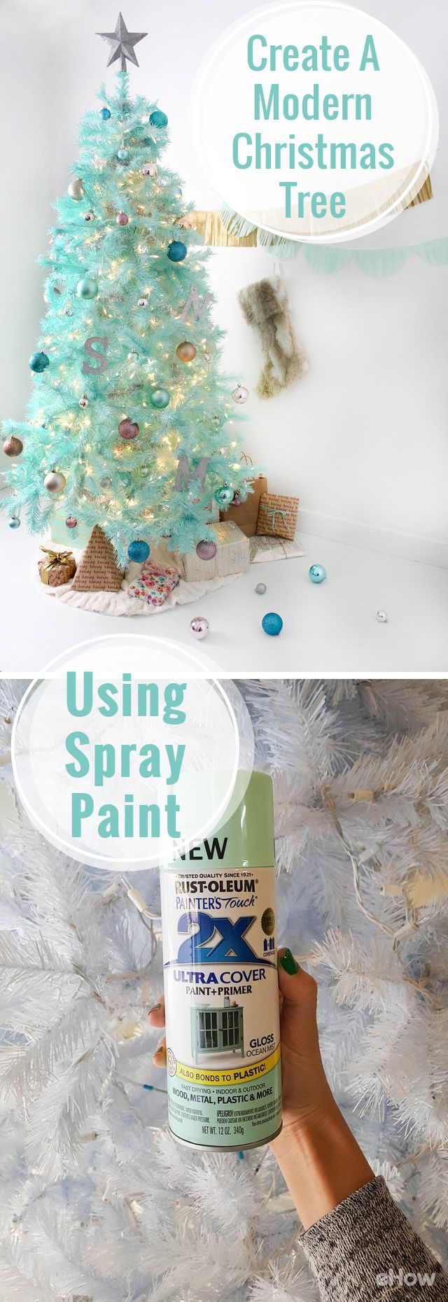 Crestwood small artificial christmas tree with plastic bronze pot - How To Create A Modern Christmas Tree Using Spray Paint