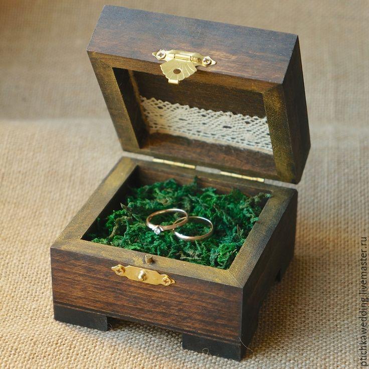 Купить Большая квадратная шкатулка для колец с натуральным мхом - деревянная коробочка, коробочка для колец