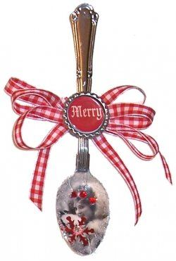 Recycled spoons. You could even add your own family photos and embellish.