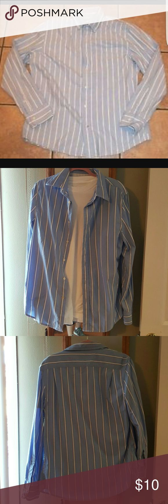 Mossimo Men's long sleeve button down Blue with white stripes.  Only worn a few times...in very good condition. Mossimo Supply Co Shirts Casual Button Down Shirts