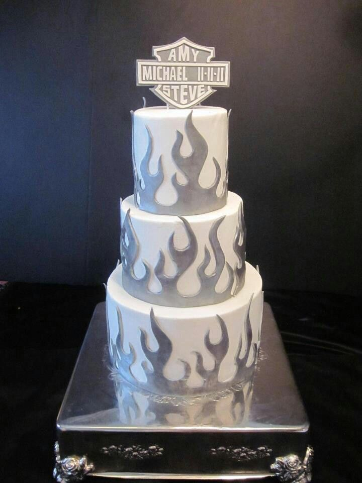 Harley Wedding CakeButtercream Iced Tiers Fondant Flames Brushed With Platinum Lustet Dust