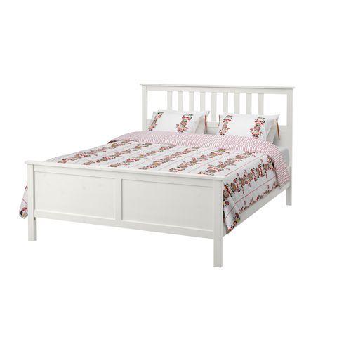 IKEA - HEMNES, Cadre de lit, 140x200 cm,  , , En bois massif, un matériau naturel et résistant à l'usure.Les côtés de lit réglables permettent d'utiliser des matelas d'épaisseurs différentes.
