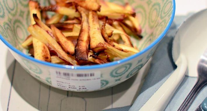 Een lekker Voedselzandloper recept is pastinaak frieten uit de oven.