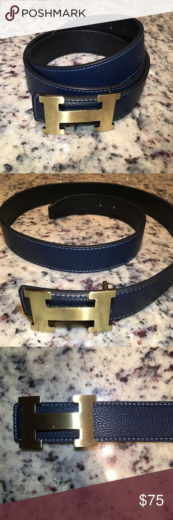 High Quality Hermes from Original Versions What you see it's what you'll get. Beautiful Top quality Hermes from original versions. Blue belt with gold buckle in size 47 inches / 120 centimeters and I can make extra wholes to adjust to smaller size... this belt has a small cut in the back of it and you can see it in the picture I posted. Hermes Accessories Belts