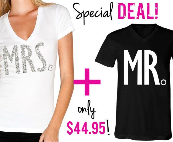 MRS Bride Shirt  MR Groom Shirt Special Deal Bride Vneck