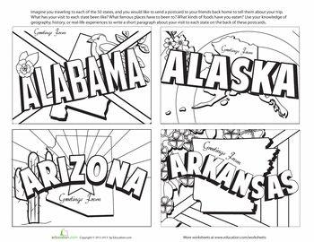 Worksheets: Vintage State Postcards