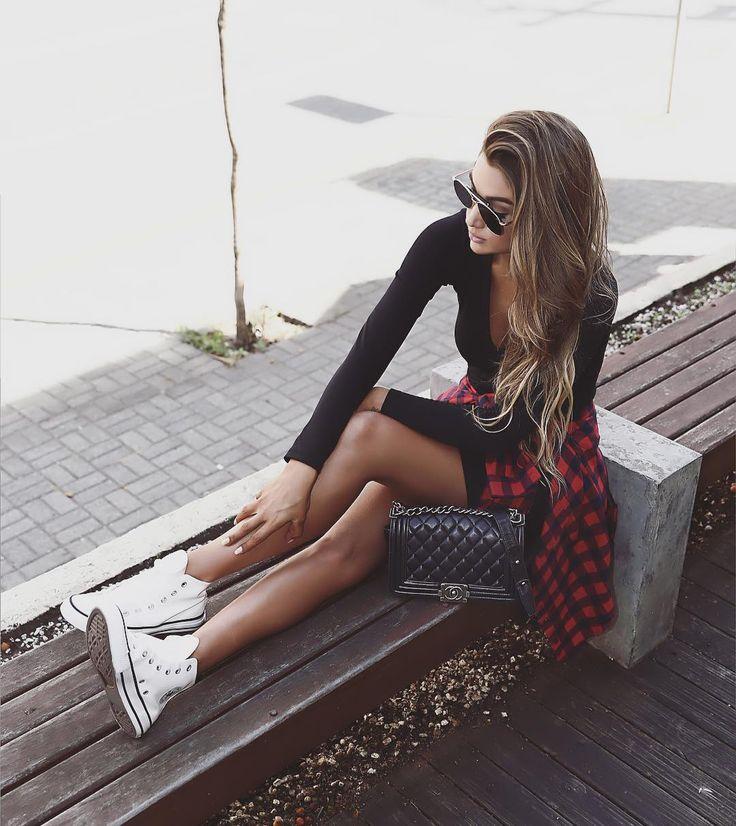 dress + flannel + chucks
