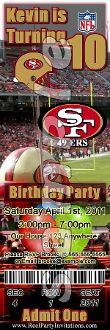 SAN FRANCISCO 49ERS TICKET STYLE INVITATIONS (WITH ENVELOPES)