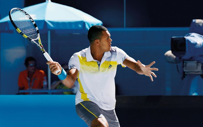 Download wallpapers Jo-Wilfried Tsonga, Tennis, ATP, tennis court, tennis racket, French tennis player