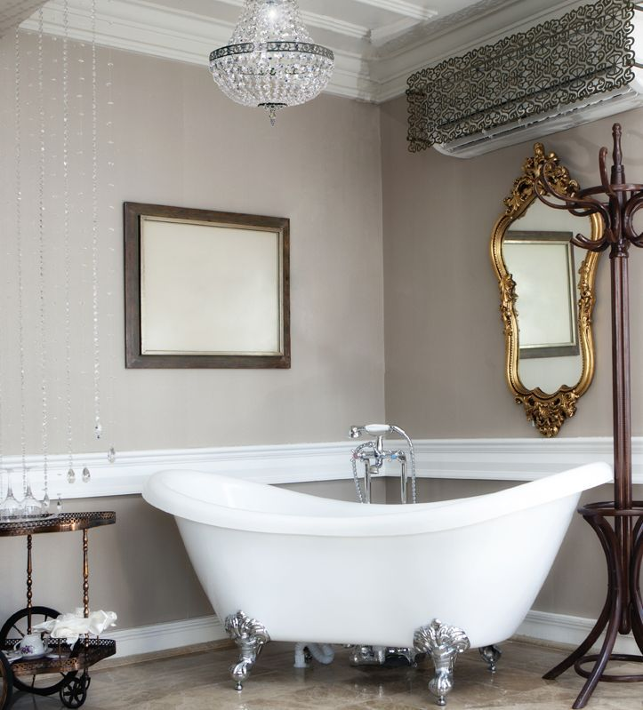 We love this gorgeous Empire-style bathroom chandelier! The shape dates back to the Napoleonic era, as a backlash to the elaborate pre-revolutionary era, but with its chrome finish, it will also be at home in the most contemporary bathroom. It has an IP44 rating, so is safe to use. http://www.bathroom-lighting-centre.co.uk/bathroom-chandeliers/empire-bathroom-chandelier-p-344.html